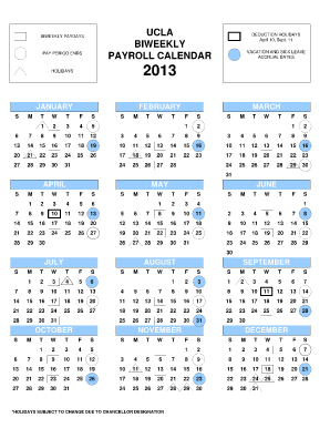Ucla Biweekly Payroll Calendar 2013 Form Fill Online, Printable