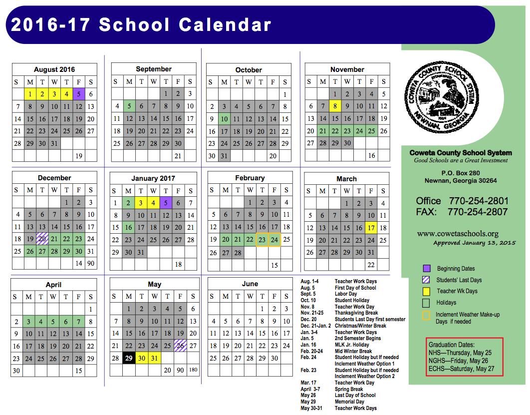 School Calendar 2016 : Calendar with holidays template