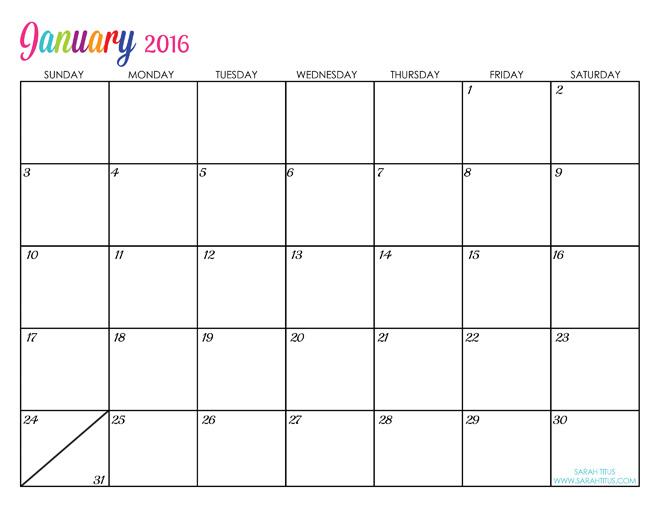 Custom Editable Free Printable 2016 Calendars | 2016 calendar