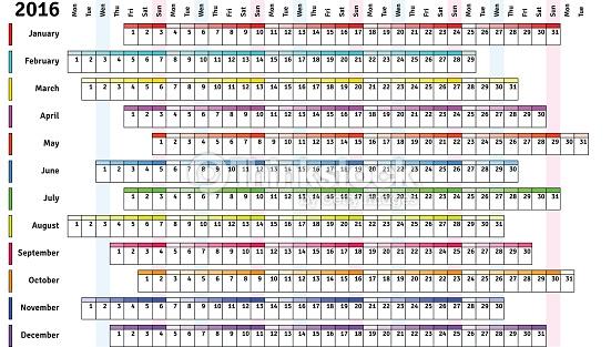 2016 Calendar With Days Numbered | Calendar Template 2017