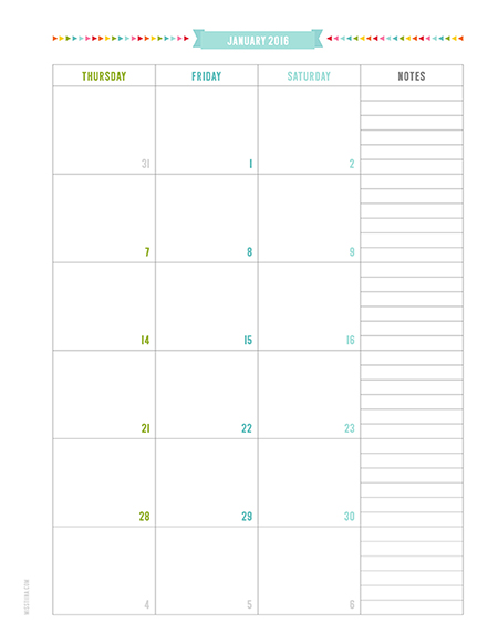 Blank Calendar With Notes Section : Calendar with notes section template