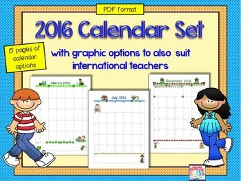 2016 monthly calendar set (15 calendars) in EDITABLE PDF format