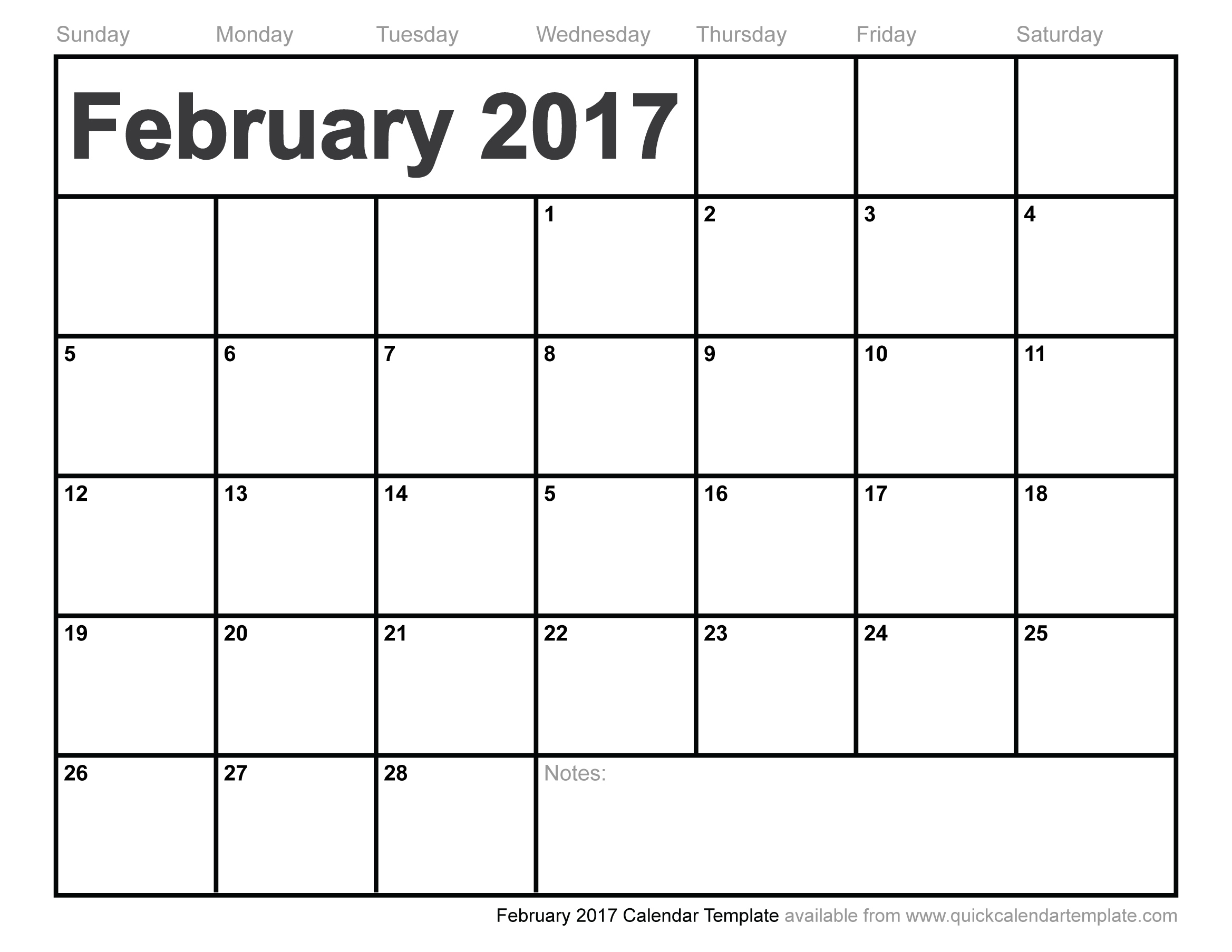 February 2017 Calendar You Can Type On