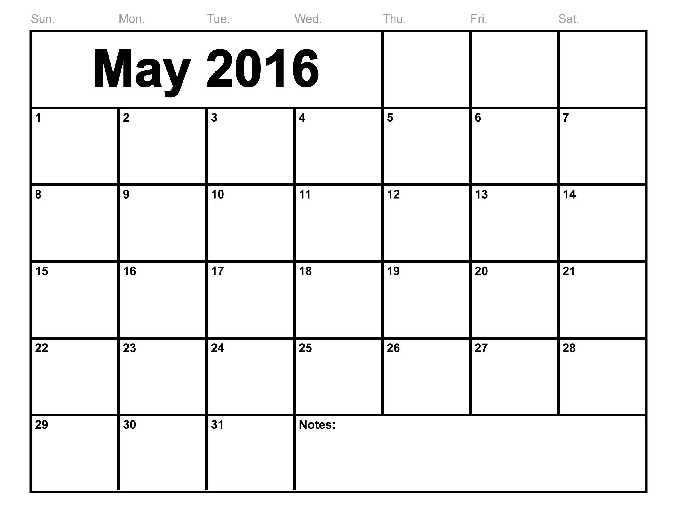 May 2016 Calendar Printable Monthly Blank Calendar 2016 Template