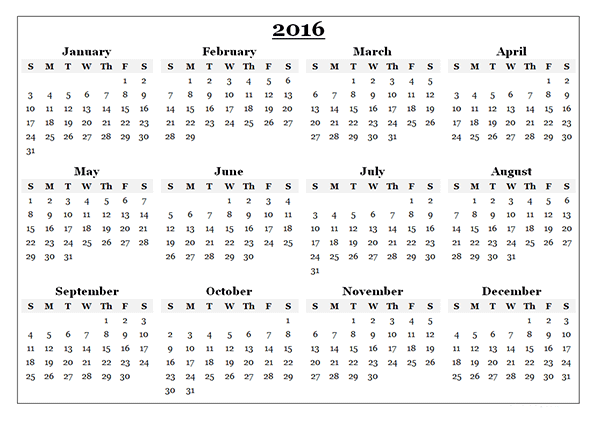 2016 Yearly Calendar Template 08 Free Printable Templates