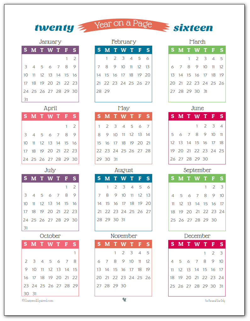 2016 Year on Page Printable Calendars are Here!   Messages, Search