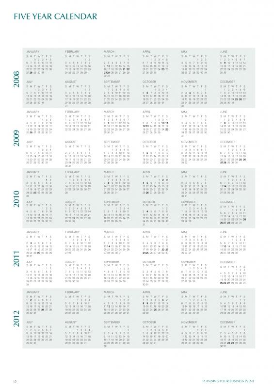5 Year Calendar 2015 2020 Printable | Calendar Template 2019
