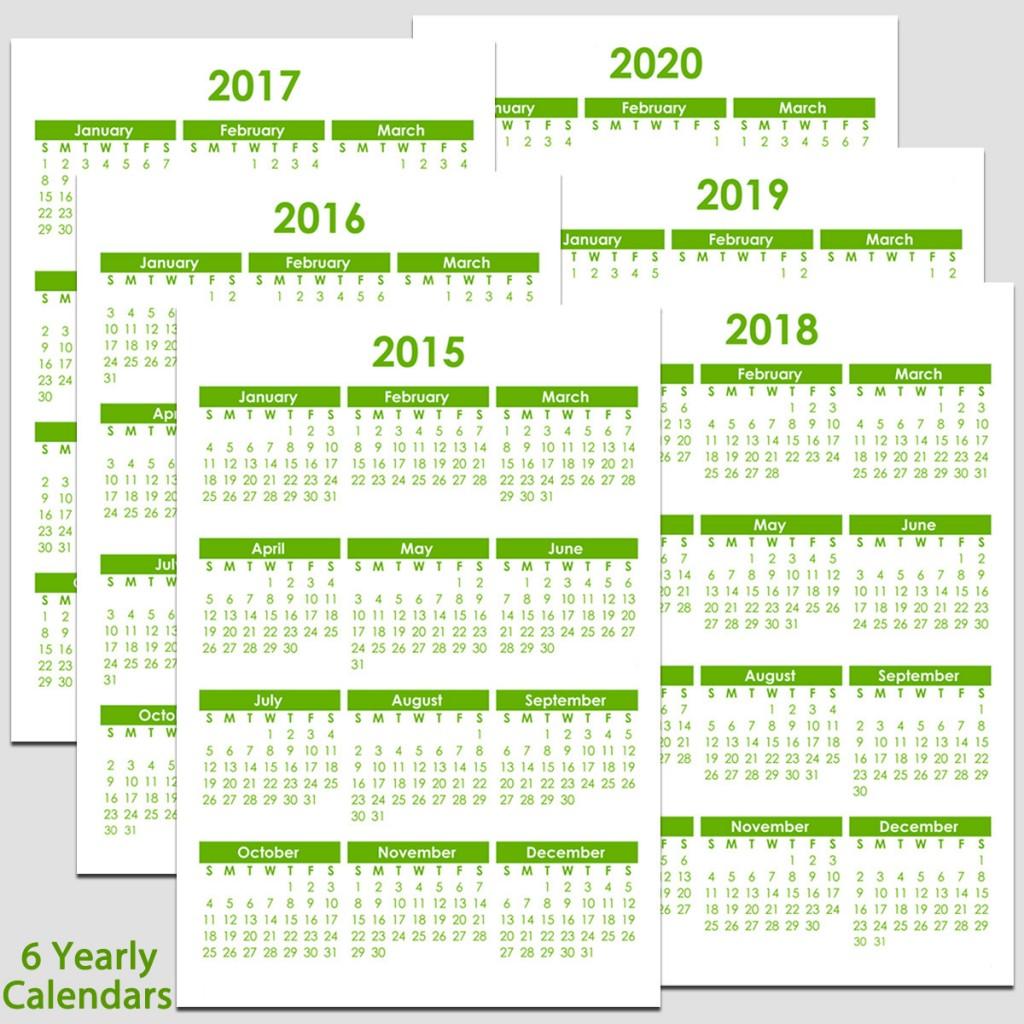 2015 & 2020 Yearly Calendar 5 1/2