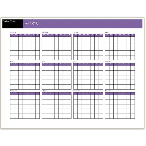12 months calendar Template