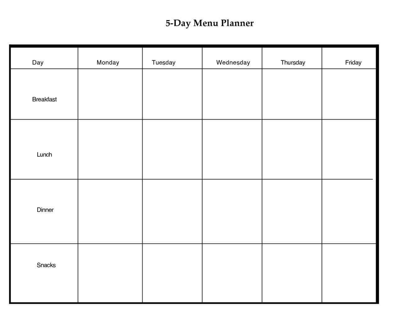 Blank 5 Day Calendar Printable – 2017 calendar