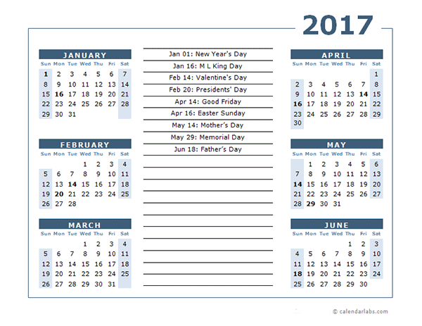 2017 Calendar Template 6 Months Per Page Free Printable Templates