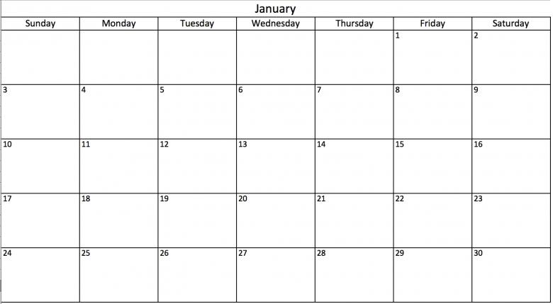 2017 academic calendar template