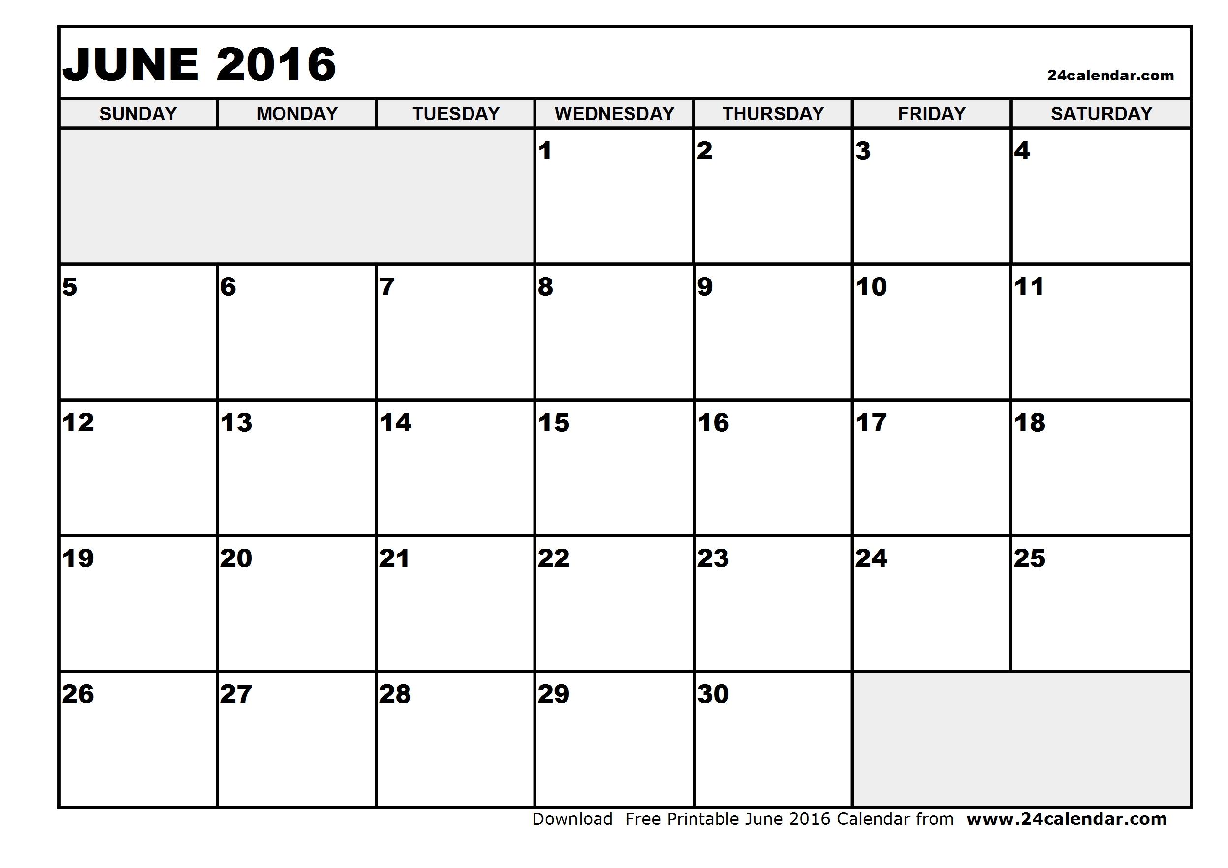 Blank June 2016 Calendar Printable   Calendar Template 2017