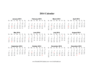 Printable 2014 Calendar on one page (horizontal, holidays in red)