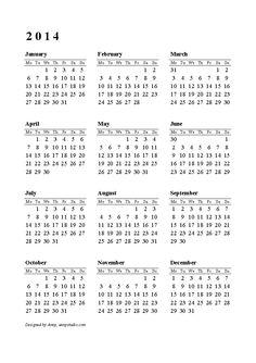 printable calendar one page