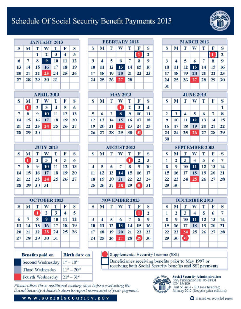 2013 Social Security Disability & SSI Benefits Pay Calendar