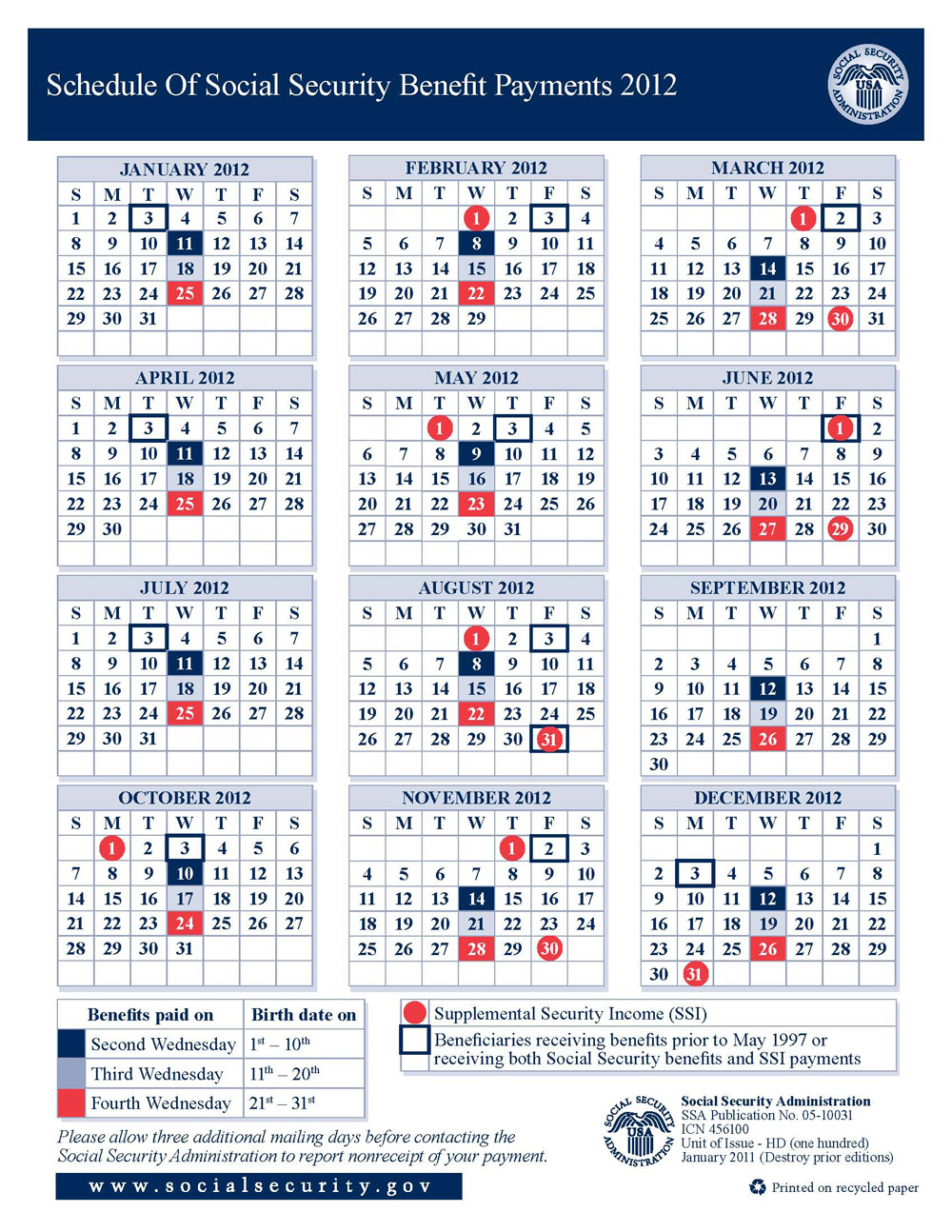 2012 Social Security Disability & SSI Benefits Pay Calendar