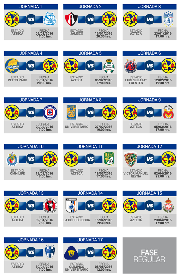 Calendario club america liga mx y copa Bancomer Cominidad