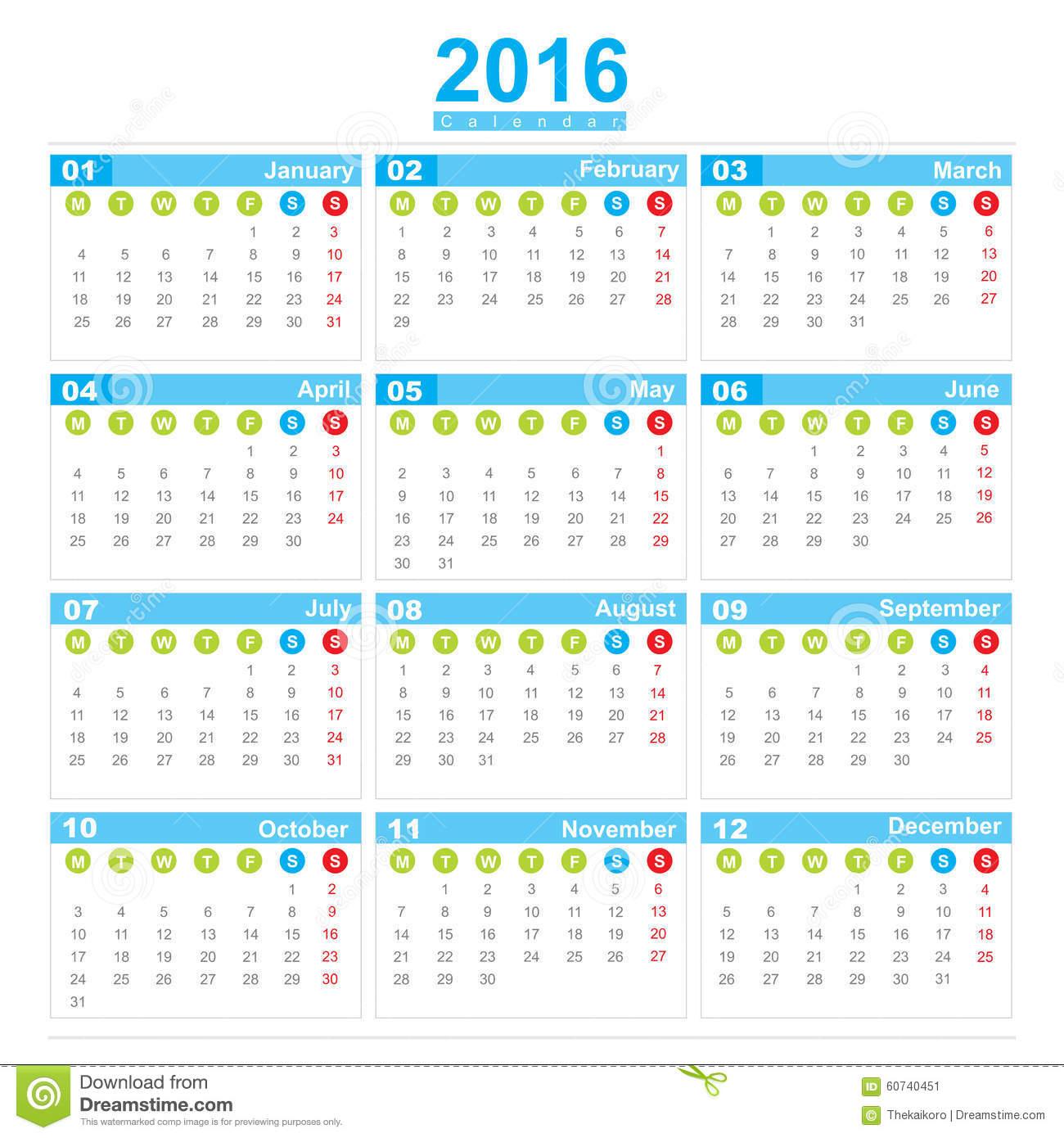 Calendario Con Numero De Semanas 2016 Calendar Template 2017