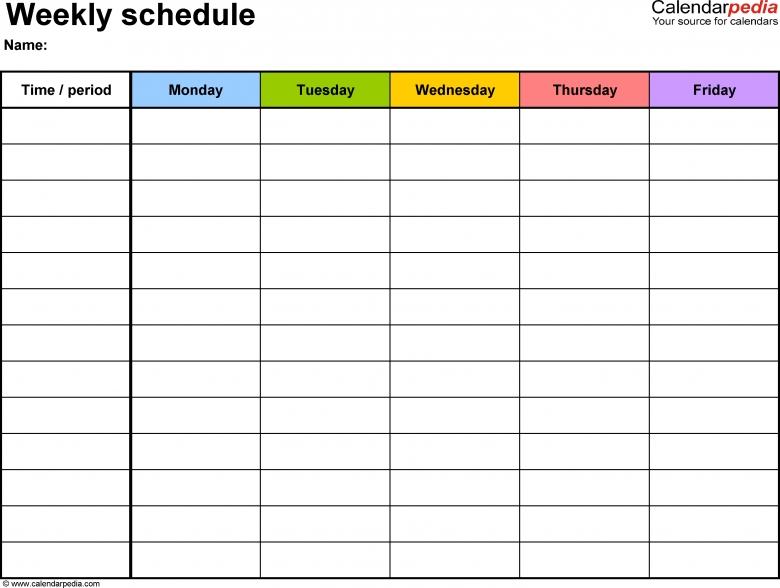 Calendarpedia Download Weekly Schedule : Free Calendar Template