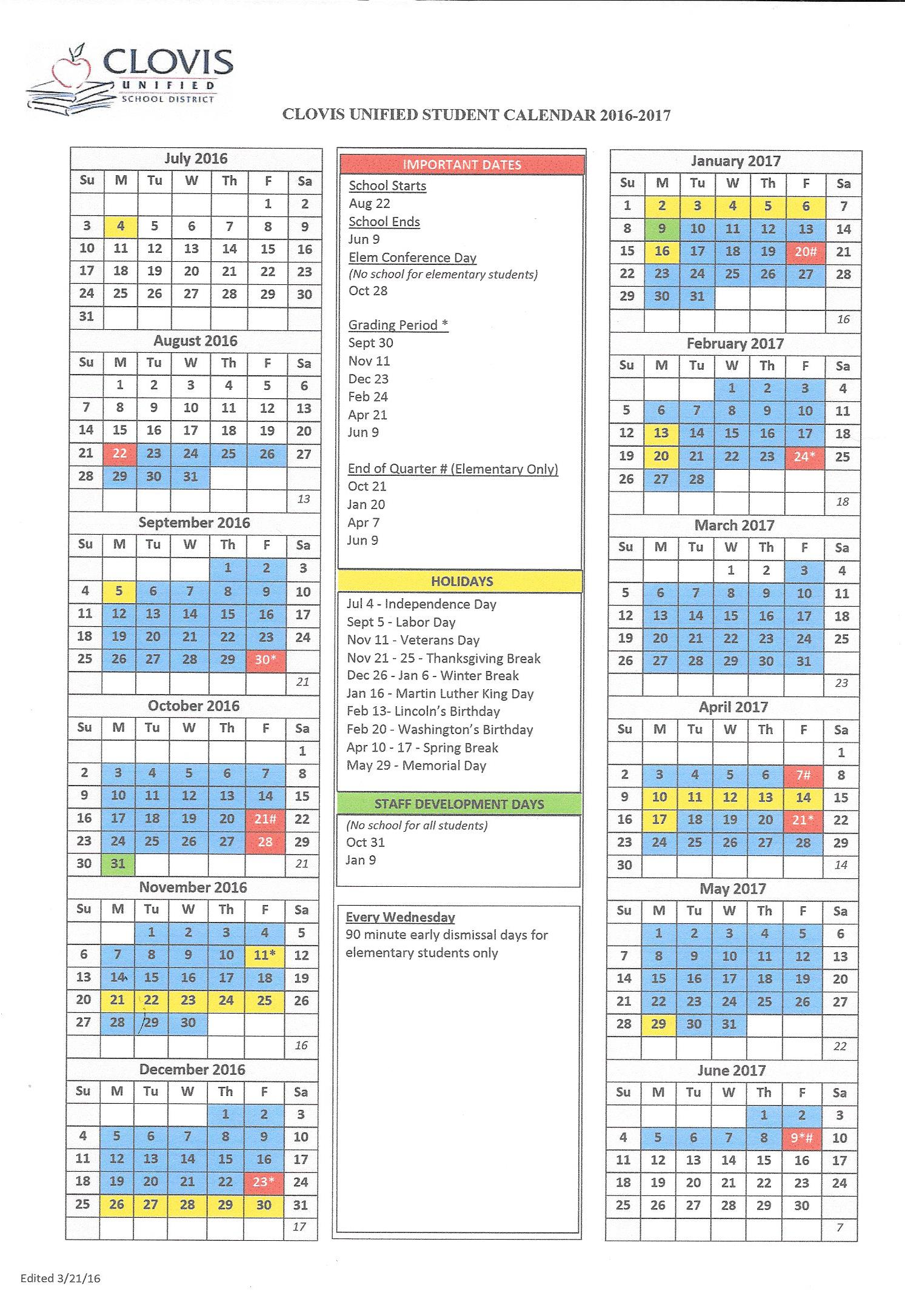 Woods Elementary :: District Master Calendar