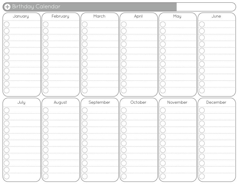 Free Perpetual Birthday Calendar Printable PDF by Jen Allyson