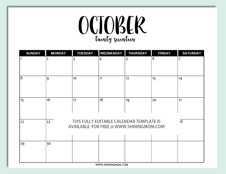 Free Printable: Fully Editable 2017 Calendar Templates in Word Format