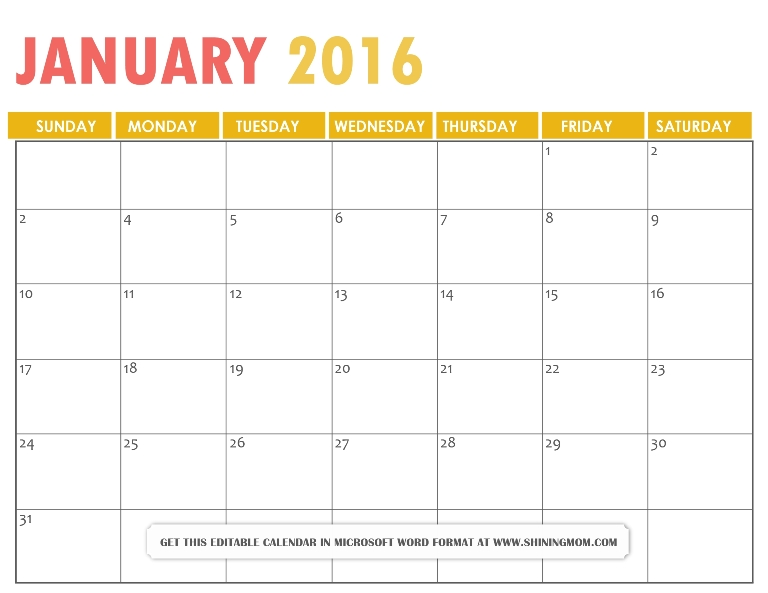 Microsoft Word Calendar Template 2016Best Business Templates