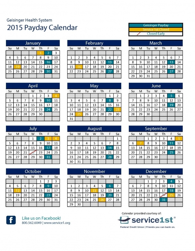 Payday Calendar Federal Government 2016 : Free Calendar Template