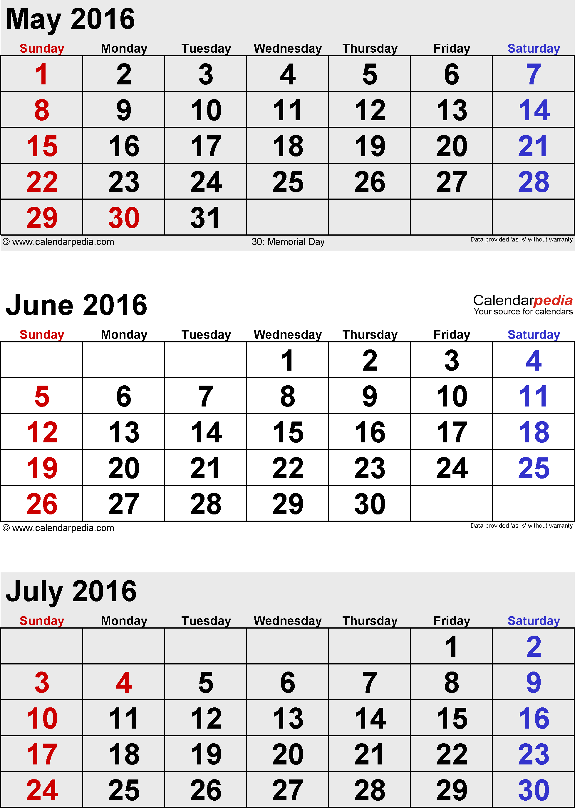 Calendar May June Printable : Free month calendar printable may june july