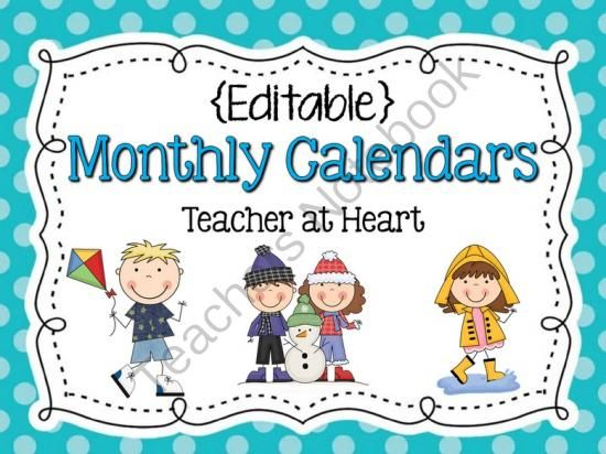 Free Editable Calendar For Teachers  Calendar Template