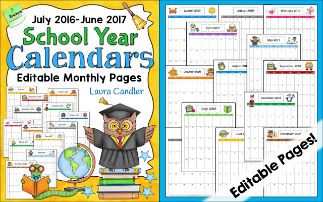 Corkboard Connections: Grab Your Free 2016 2017 School Year Calendar!