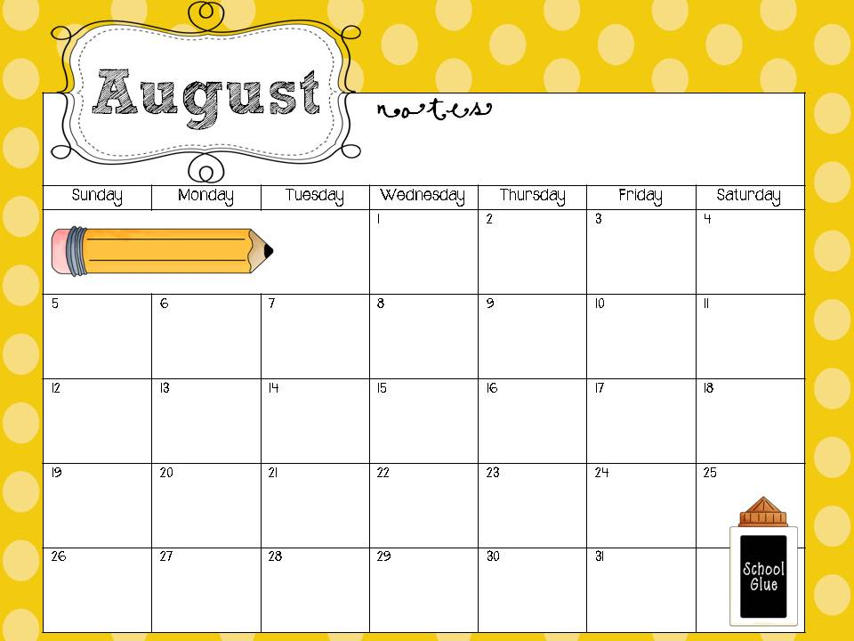 Classroom Calendar Printable : Free editable calendar for teachers template