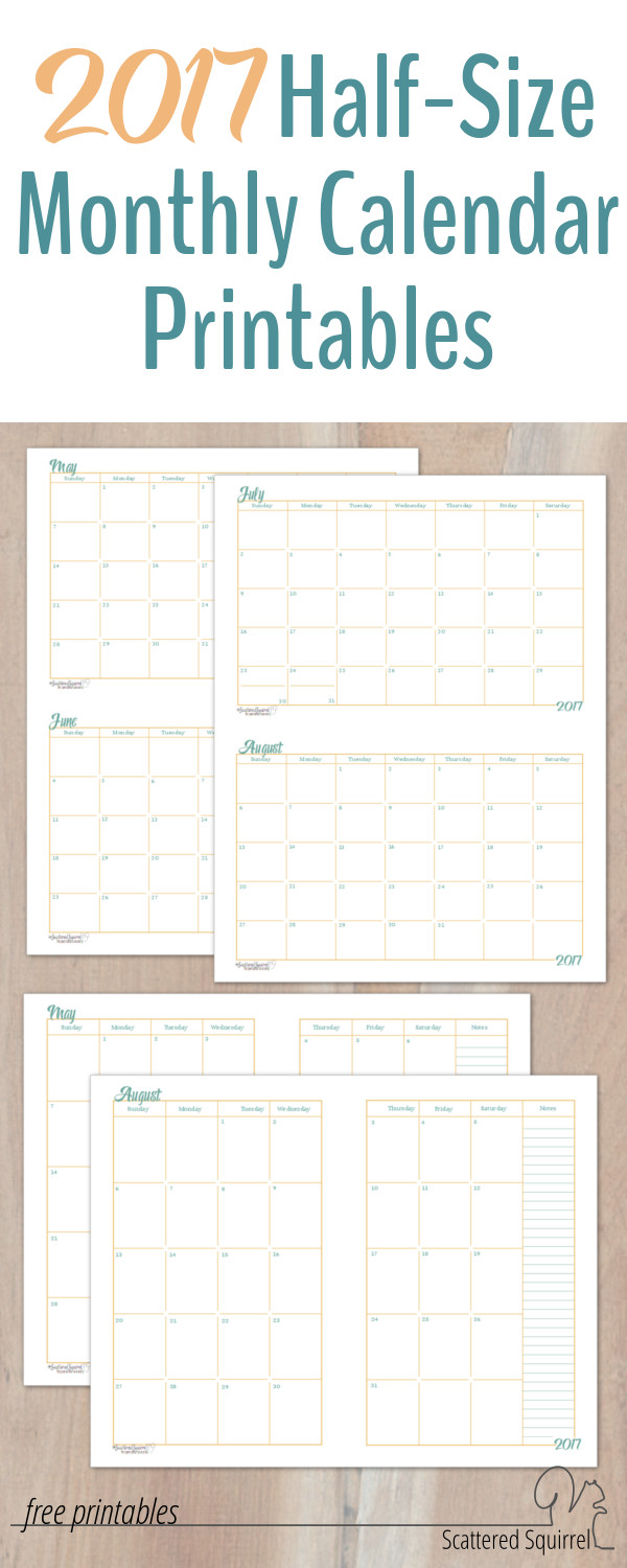 2017 Half Size Monthly Calendar Printables