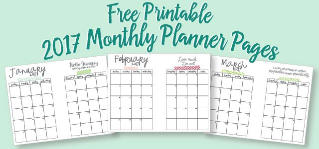 Free Printable A5 2017 Monthly Calendars | Live Craft Eat