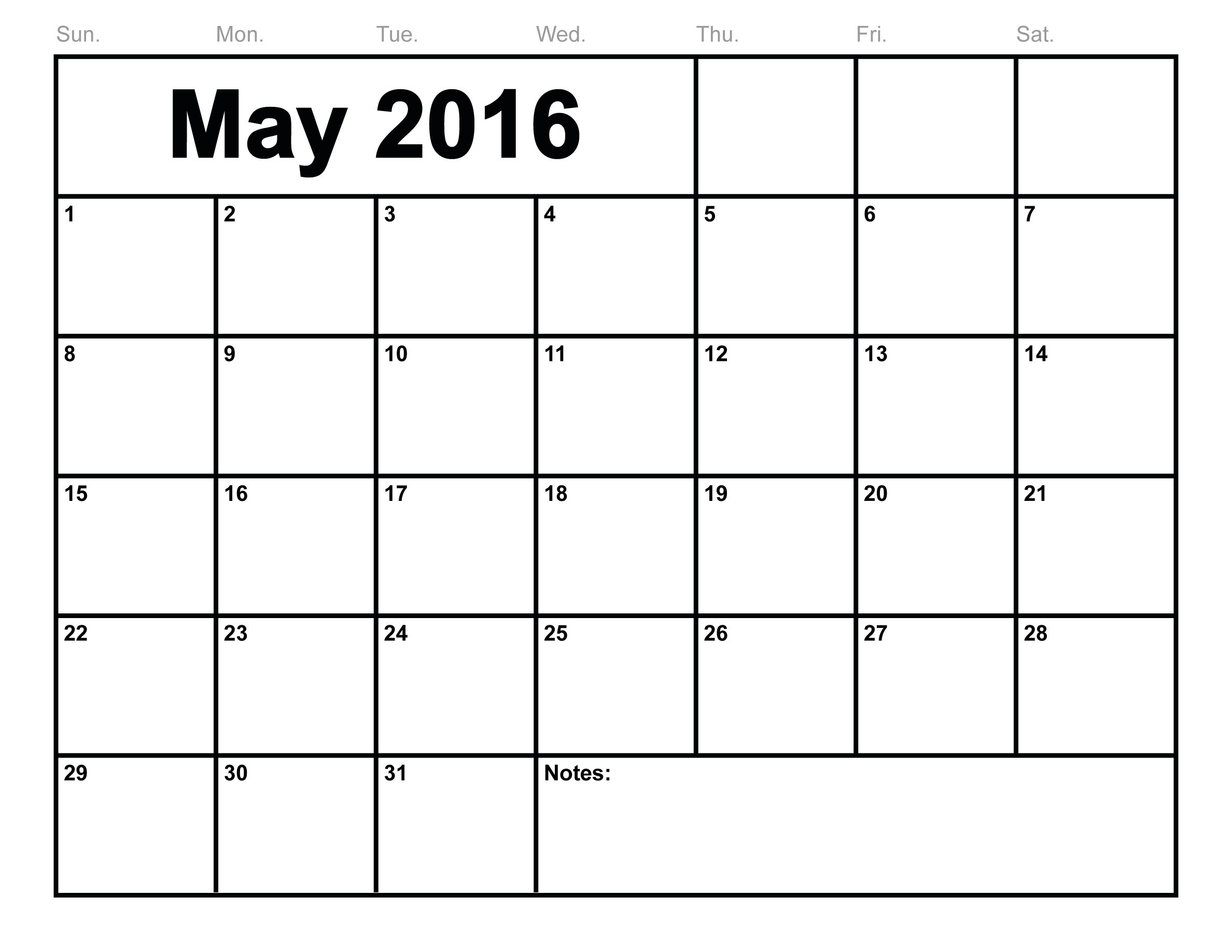 May 2016 Printable Calendar [PDF | Word | Excel] | Printable