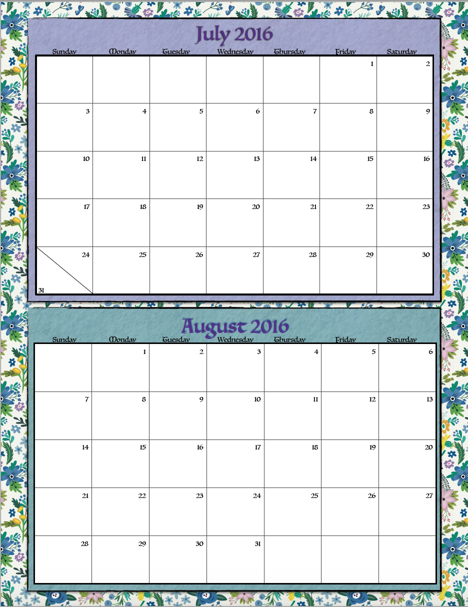 Free Printable Bimonthly 2016 Calendars: 2 designs ~ The Housewife