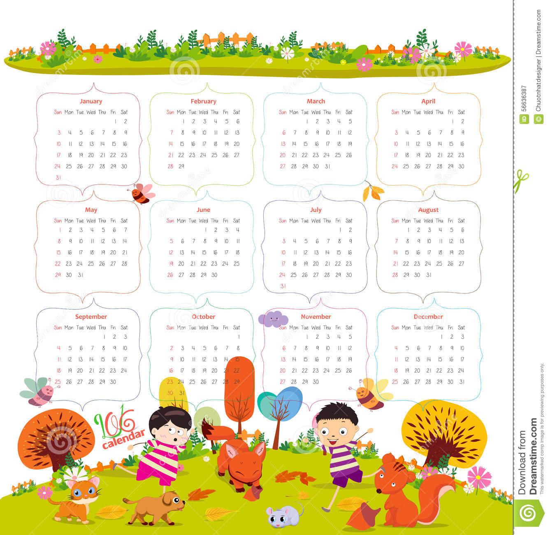 young kids calendar template