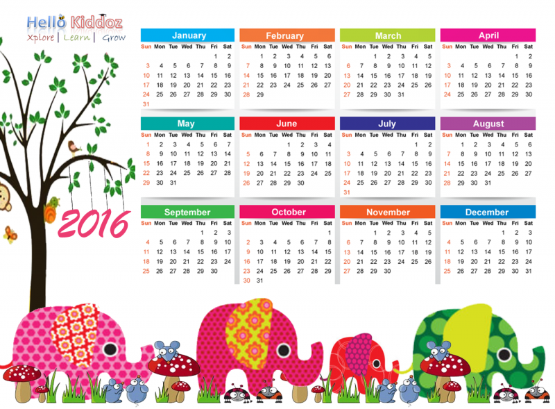 Fun Kids 2016 Calendar | Calendar Template 2017