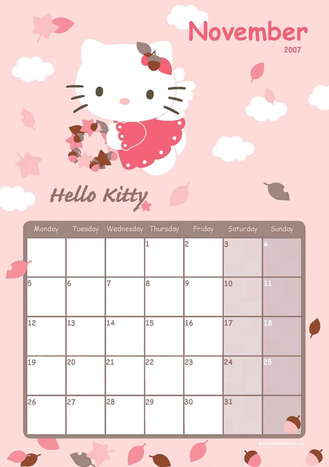 Hello Kitty Printable Calendar – printable calendar 2017