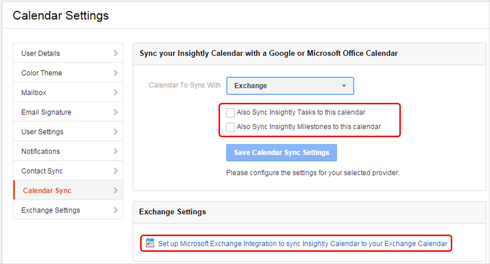 Syncing Insightly with Google or Microsoft Exchange calendars