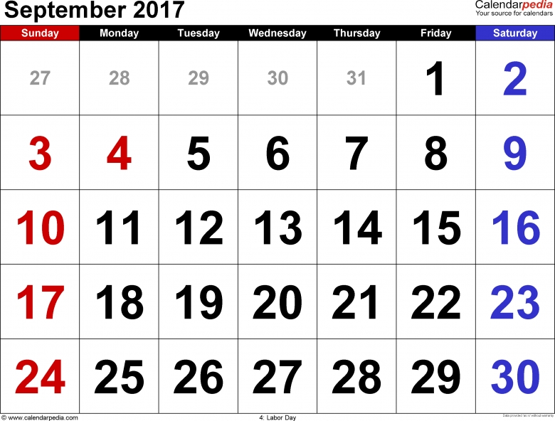 Large Number Vertical 2017 Calendar : Free Calendar Template
