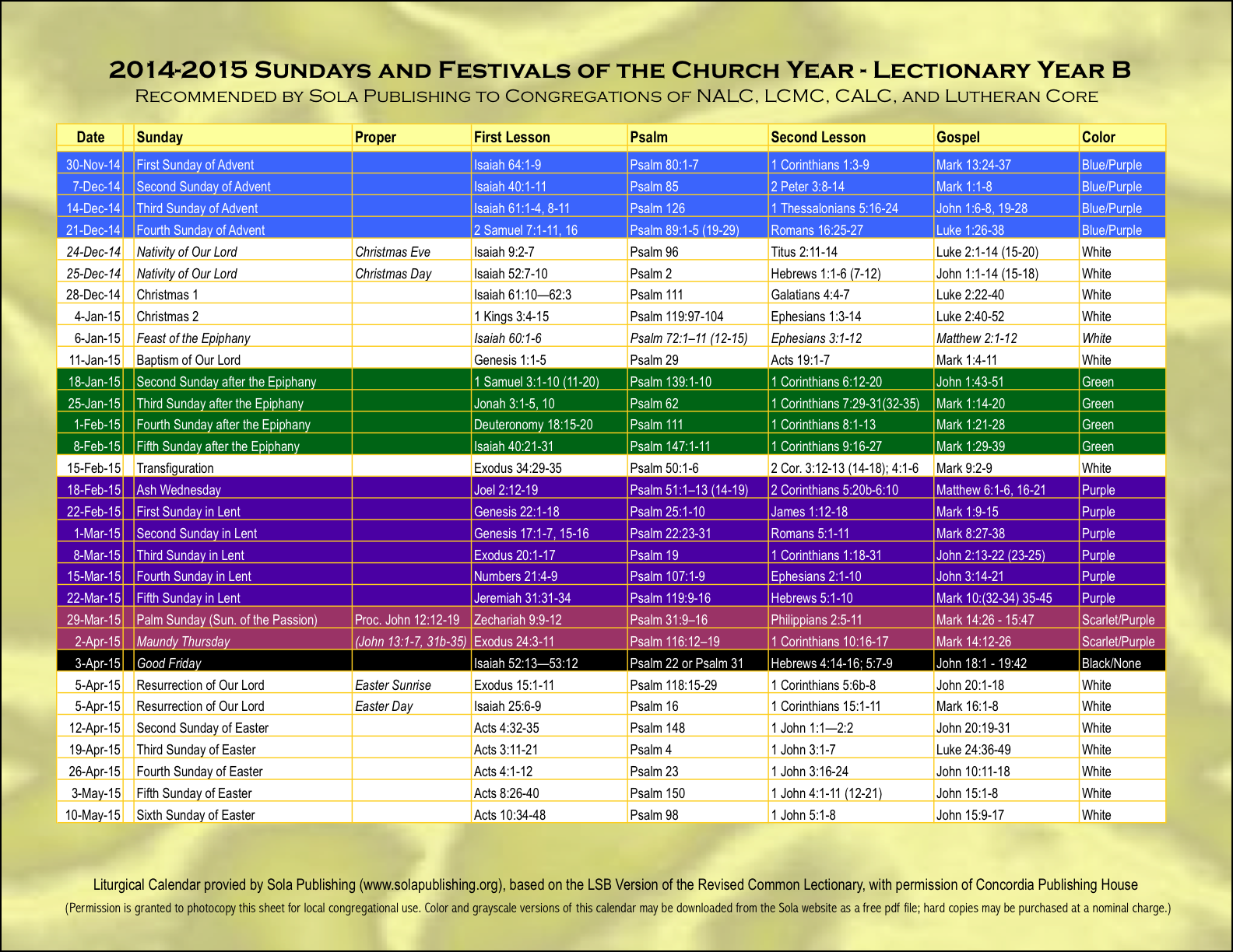 Lectionary calendar 2016 elca calendar template 2018 for Worship schedule template