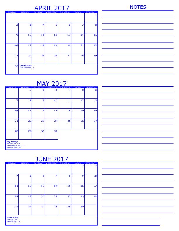 April May June 3 Months Printable Calendar 2017 | April May June 3