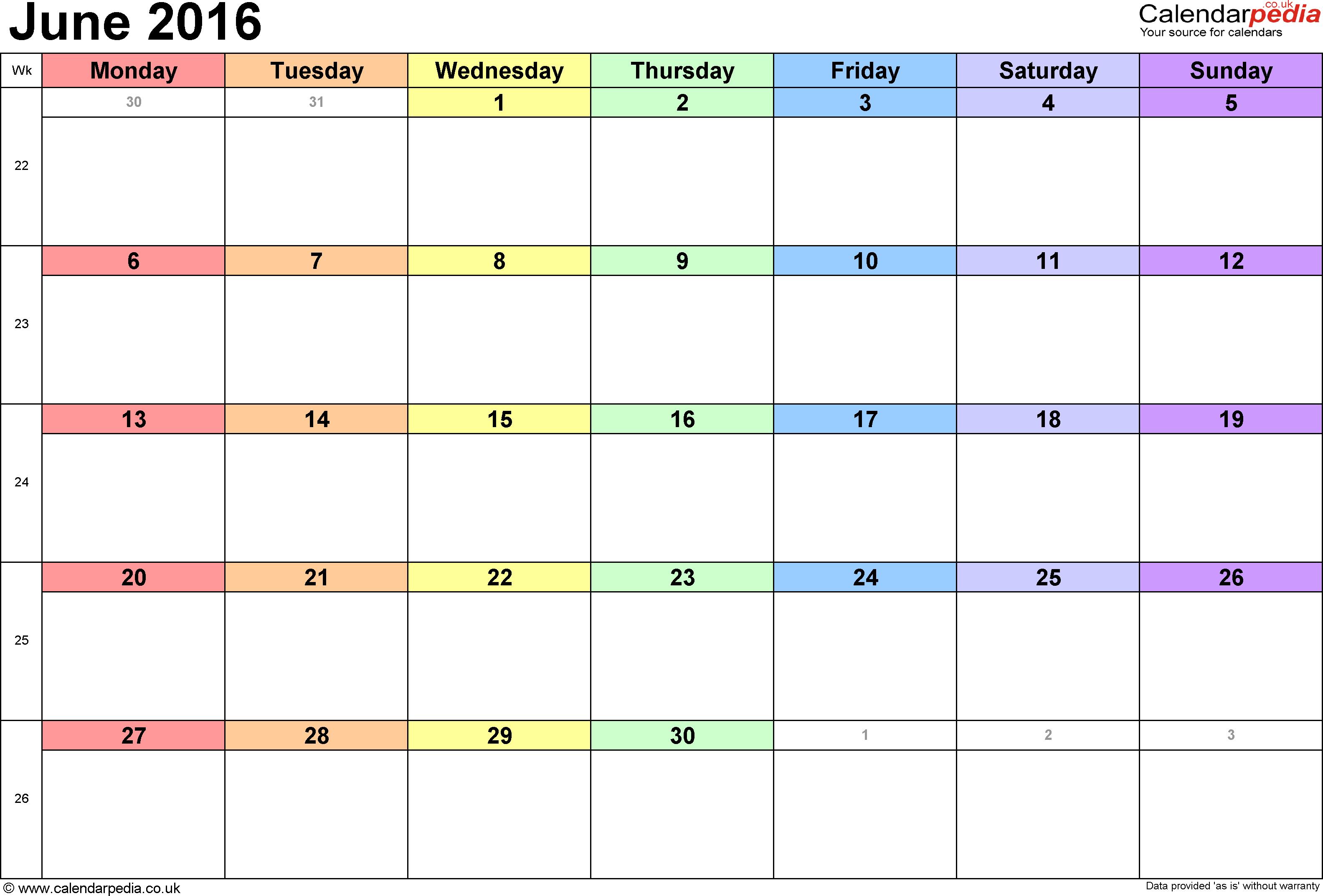 Calendar June 2016 UK, Bank Holidays, Excel/PDF/Word Templates
