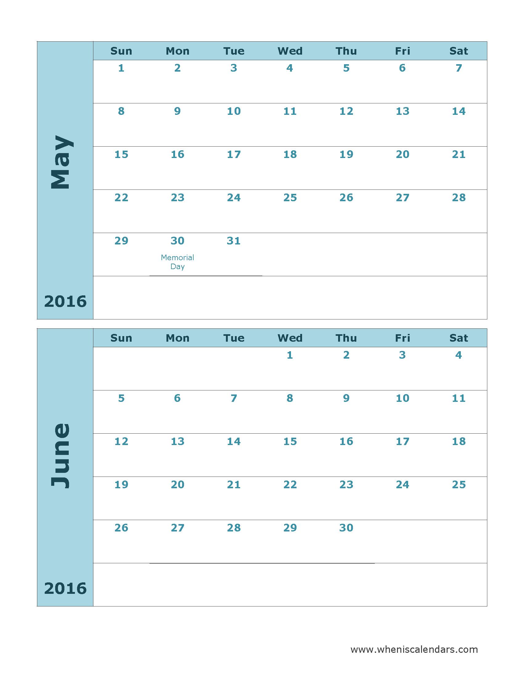 and June 2016 Calendar Template