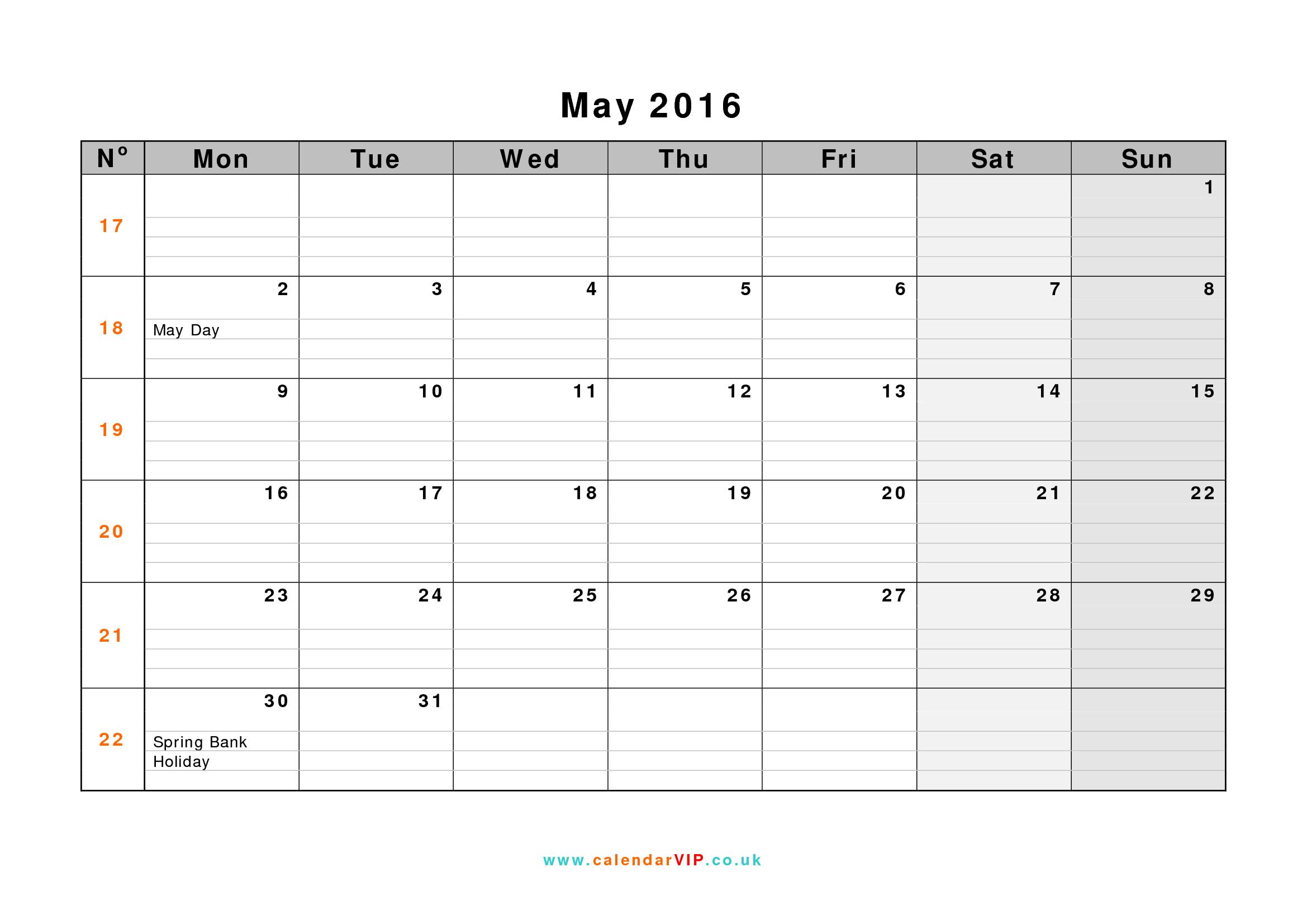 May Monthly Calendar : May monthly calendar uk template