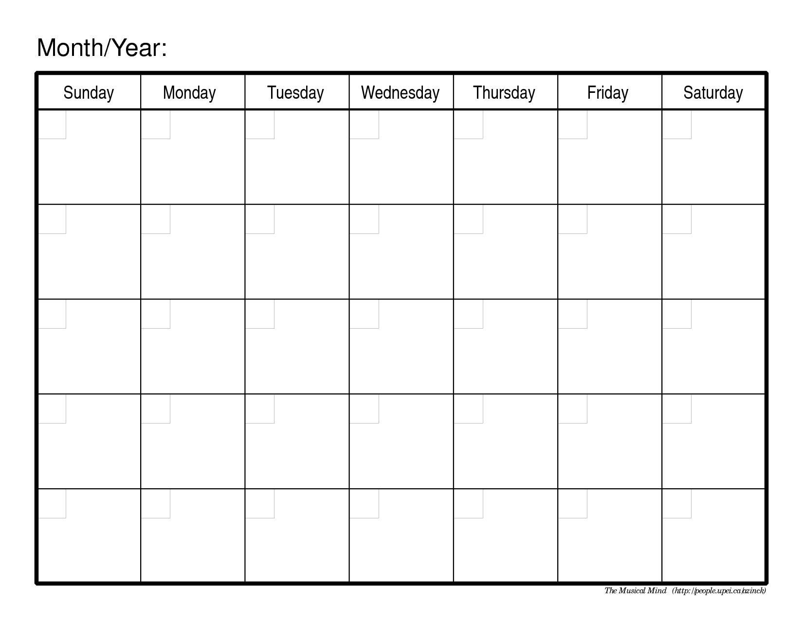 blank monthly calendar for homework