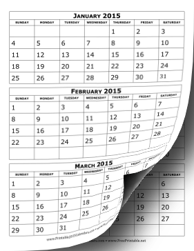 Printable 2015 Calendar Three Months Per Page
