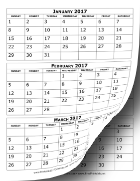 Printable 2017 Calendar Three Months Per Page